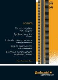 03/2008 Zuordnungsliste Application guide Liste de ...