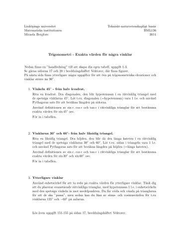Trigonometri - Exakta värden för några vinklar - Linköpings universitet