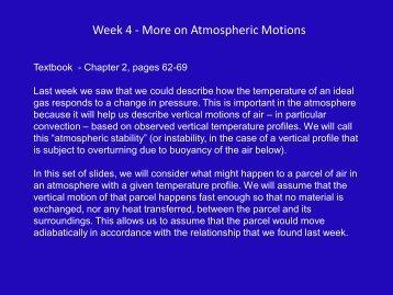Week 4 - More on Atmospheric Motions