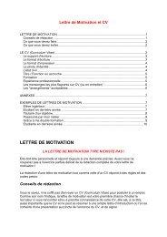 Lettre de Motivation et CV - Patrick MONASSIER