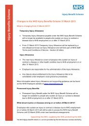 Changes to the NHS Injury Benefits Scheme 31 March 2013