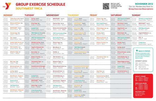 GROUP EXERCISE SCHEDULE - YMCA of Silicon Valley