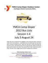 Sessions 1-4*- 2012 SOUTHINGTON - YMCA Camp Sloper