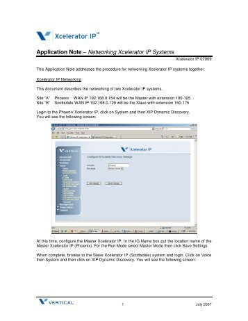 Application Note – Networking Xcelerator IP Systems - Vertical