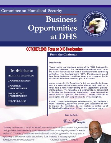 DHS Business Opportunities - October Newsletter - Committee on ...