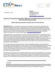 ETA, MCPI Announce Mobile Payments Event at 2013 ETA Annual ...