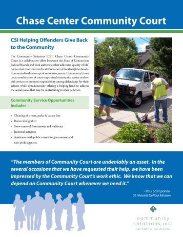 Chase Center Community Court - Community Solutions Inc.