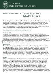 Grade 3, 4 & 5 course description - St. John's International School