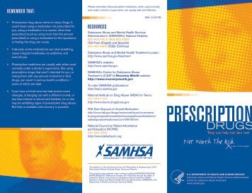 Prescription Drugs. - SAMHSA Store - Substance Abuse and Mental ...