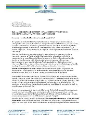 TYÖ- JA ELINKEINOMINISTERIÖN VENÄJÄN ...