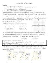 Precalculus 2.6 Rational Functions