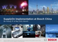 SupplyOn Implementation at Bosch in China