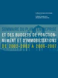 sommaire du plan d'entreprise et des budgets de fonction - National ...