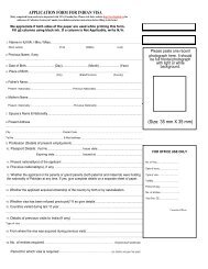APPLICATION FORM FOR INDIAN VISA - Sinorama Holidays