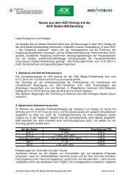Neues aus dem HZV-Vertrag mit der - MEDI Verbund Baden ...