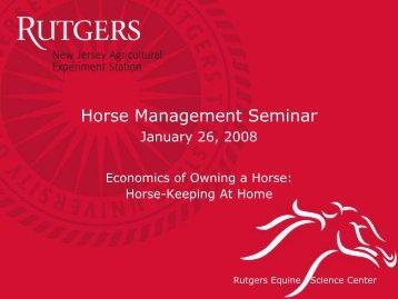 Economics of Owning a Horse - (ESC) at Rutgers