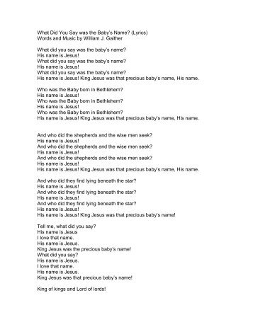 What Did You Say was the Baby's Name? (Lyrics ... - PraiseGathering