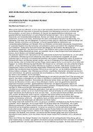 Adventistische Kultur im globalen Kontext - awa-info.eu