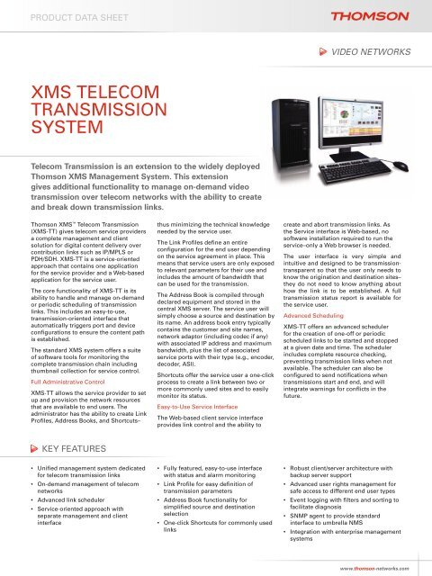 XMS TELECOM TRANSMISSION SYSTEM - Thomson Video Networks