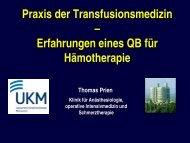 Praxis der Transfusionsmedizin - Transfusionspraxis