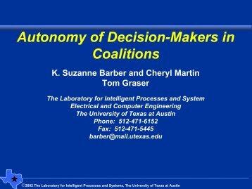 Autonomy of Decision-Makers in Coalitions