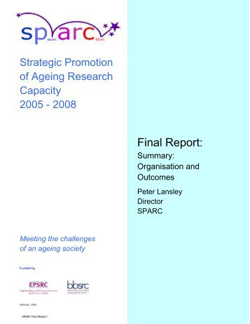Summary - SPARC - Strategic Promotion of Ageing Research Capacity