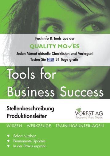 QUALITY MO ES Stellenbeschreibung Produktionsleiter - Vorest AG