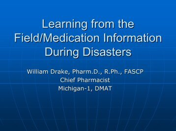 Learning from the Field /Medication Information During Disasters