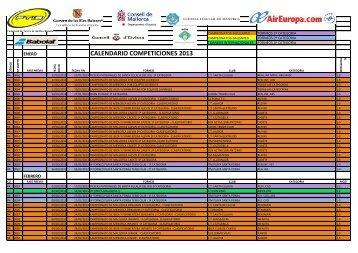 CALENDARIO COMPETICIONES 2013 - FTIB