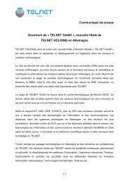 Communiqué de presse Ouverture de « TELNET GmbH », nouvelle ...