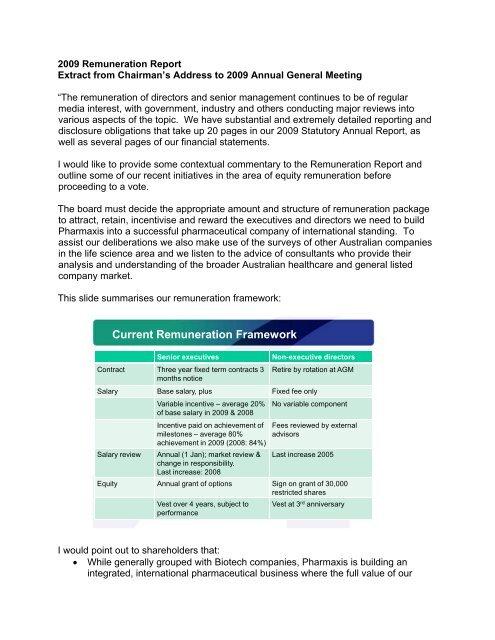 Current Remuneration Framework - Pharmaxis