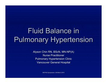 Fluid Balance in Pulmonary Hypertension - The Lung Centre