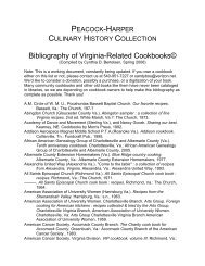Bibliography of Virginia-Related Cookbooks© - Special Collections