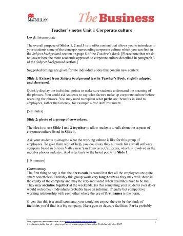 Teacher's notes PDF - Macmillan Business
