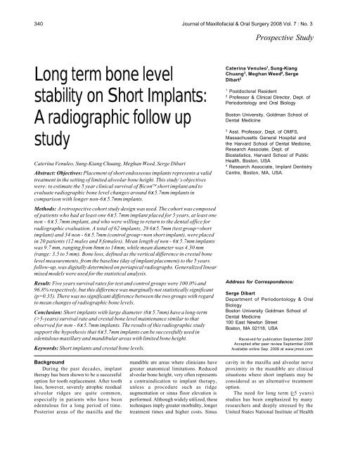 Long term bone level stability on Short Implants: A     - Bicon