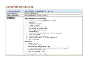registration of landbased applicants