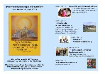 Programm von Januar bis Juni 2013