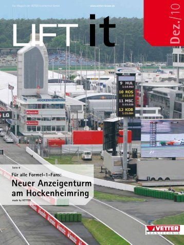 Neuer Anzeigenturm am Hockenheimring - VETTER Krantechnik
