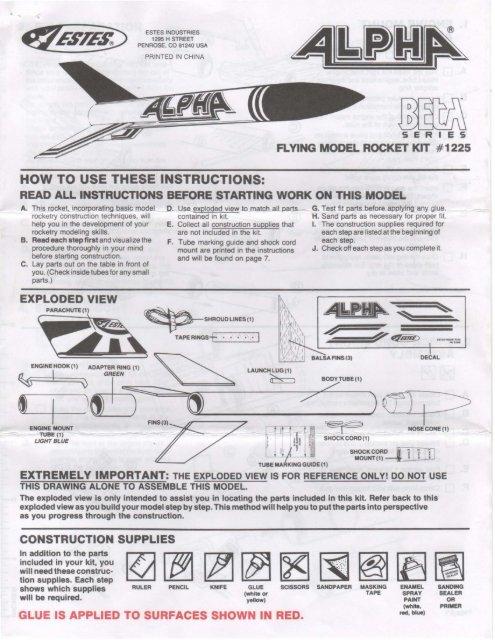 Estes Alpha Model Rocket Kit Instructions tif