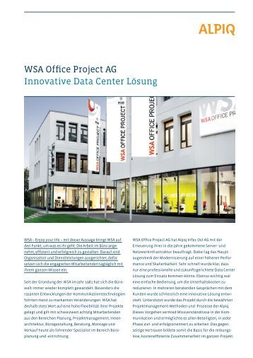 WSA Office Project AG Innovative Data Center Lösung - Alpiq InTec