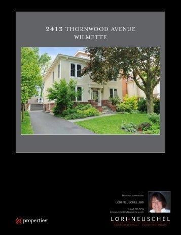 2413 THORNWOOD AVENUE WILMETTE - Properties