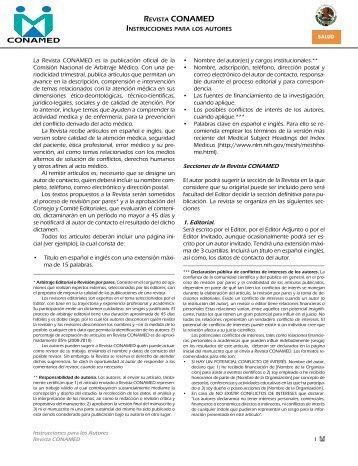 La Revista CONAMED es la publicación oficial de la Comisión ...