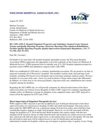 comment-letter-from-wha-to-cms-2013-opps-rule-wisconsin-  Rule Letter Template on rules button, rules library, rules and regulations,