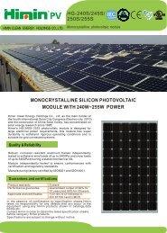 HG-240S/245S/ 250S/255S - Activity Solar