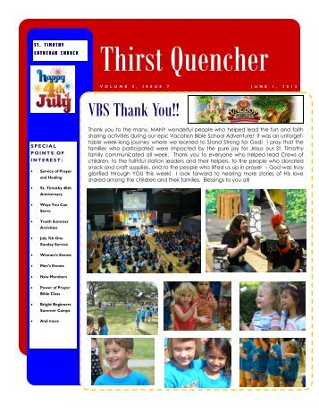 2013.07.1 Newsletter July - St. Timothy Lutheran Church