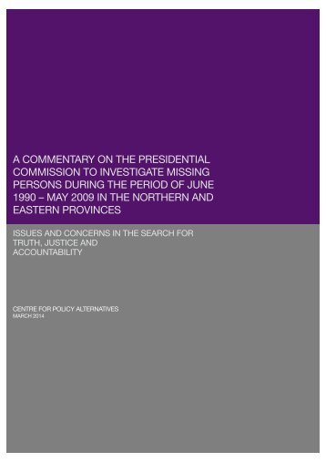 A COMMENTARY ONTHE PRESIDENTIAL COMMISSION TO INVESTIGATE MISSING PERSONS