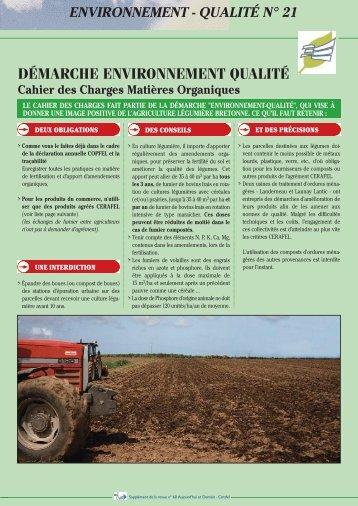 Démarche Environnement Qualité CDC MO - Cerafel