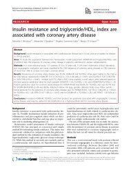 Insulin resistance and triglyceride/HDLc index are ... - BioMed Central