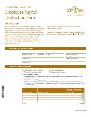 Payroll Authorization Form Employee Health Payroll Deduction Form