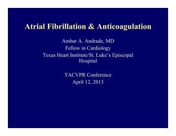 Atrial Fibrillation & Anticoagulation